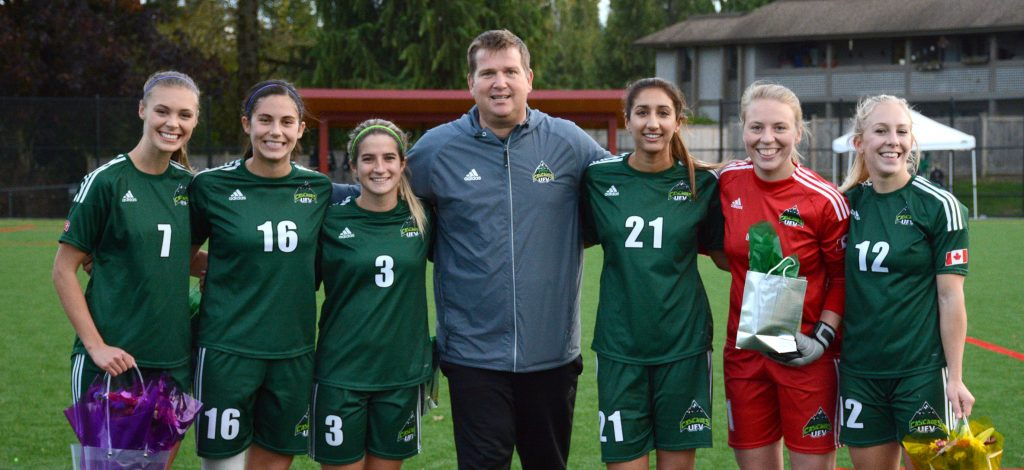 Kara Delwo, Tristan Corneil, Danica Kump, Sunayna Samra, Kayla Klim and Karlee Pedersen have been with the Cascades since 2012, and their careers were celebrated on Saturday.