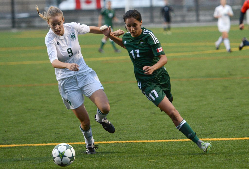 Gurneet Dhaliwal (right) had a strong game on Saturday, assisting on UFV's first goal.