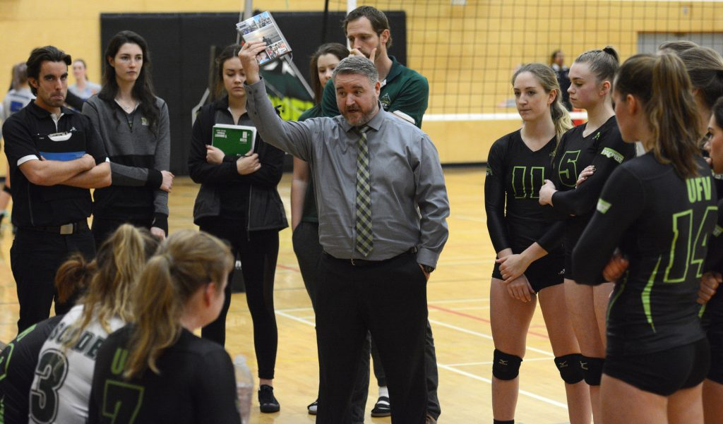 Head coach Mike Gilray offers the Cascades some words of wisdom during a recent home game. The Douglas Royals completed a weekend sweep of the UFV squad on Saturday.