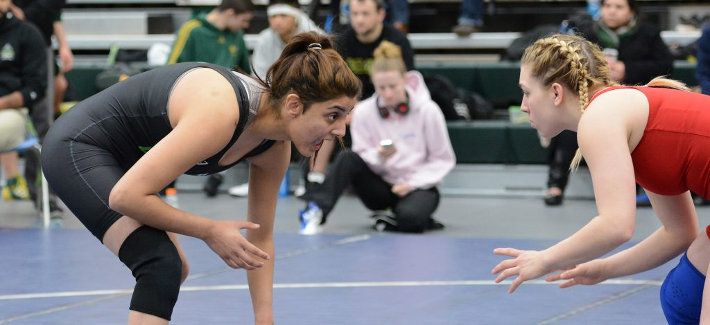 Cascades sophomore wrestler Pravi Dhaliwal (left) is poised to make her 2016-17 tournament debut this weekend.