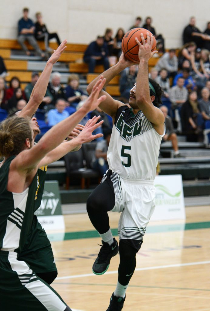 Vijay Dhillon nailed a tough runner in the lane on this play to give UFV a 62-61 lead, but UNBC would out-score the Cascades 5-1 from that juncture.
