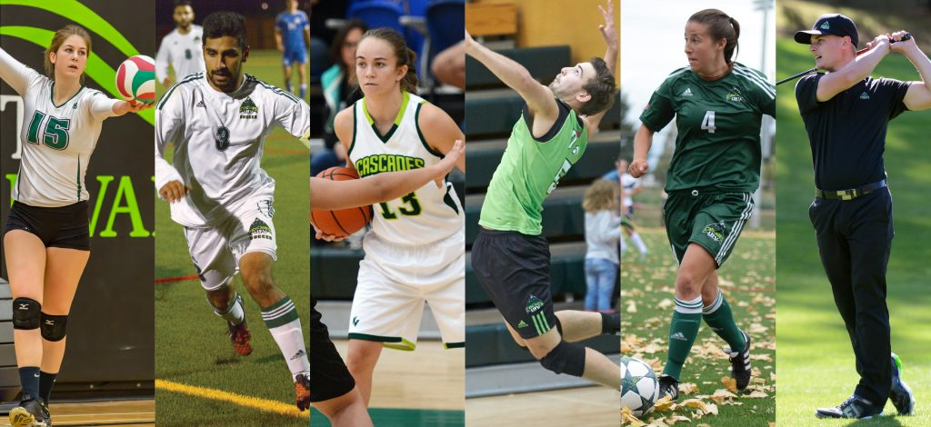 Kara Williams, Sukh Dhaliwal, Amelia Worrell, Nick Bruce, Amber Korner and Cole Briggs (from left) are among the UFV student-athletes who were honoured by U Sports or the CCAA for their academic achievements in 2015-16.