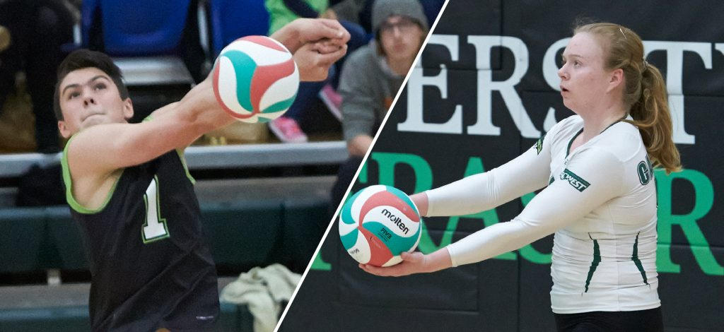 Isaiah Dahl, Rachel Funk and the rest of the Cascades volleyballers are in action at home this weekend vs. Camosun.
