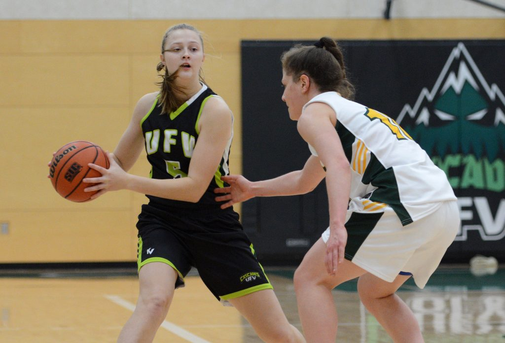 Victoria Jacobse (left) scored seven points off the bench for UFV on Saturday.