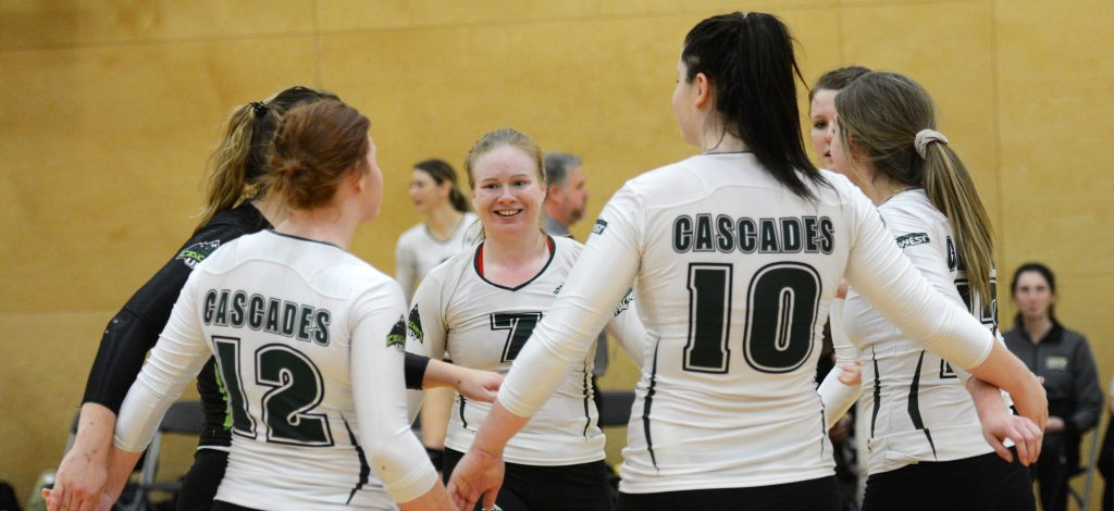 Rachel Funk (7) and the Cascades celebrated a victory over College of the Rockies on Saturday.