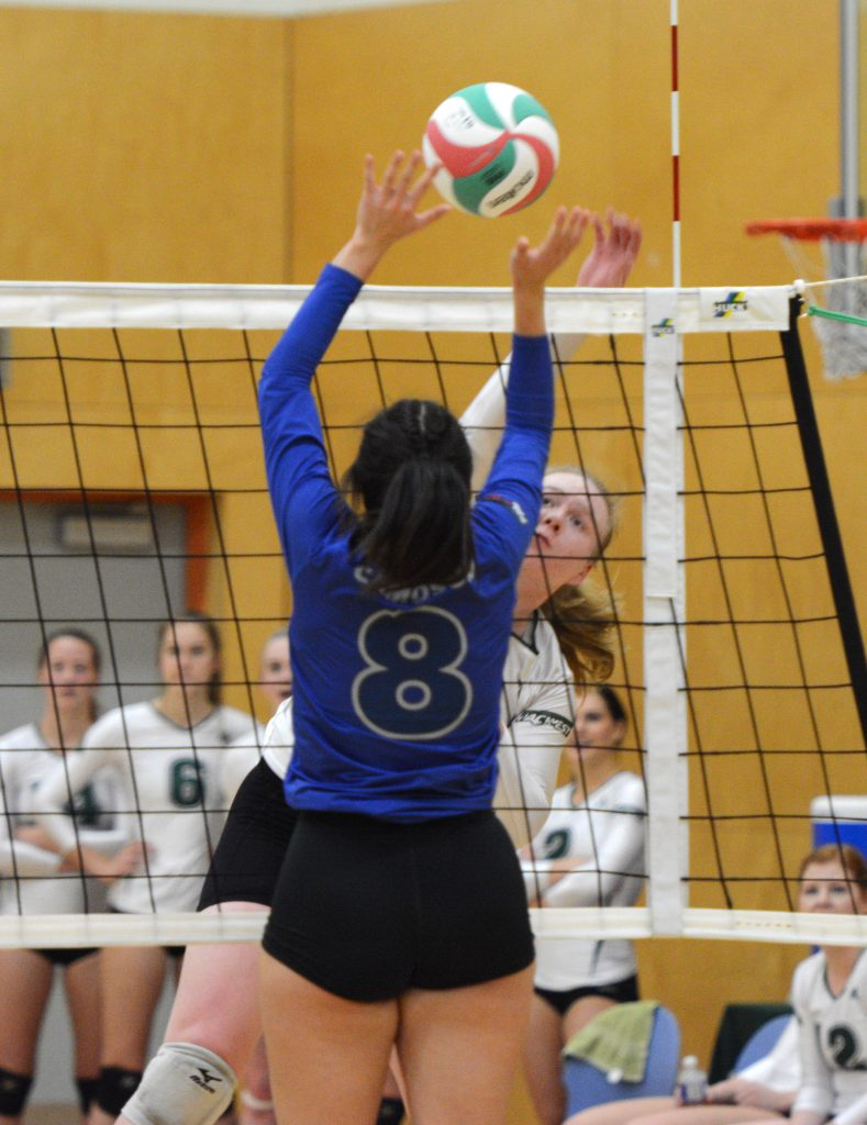 Rachel Funk had a strong all-around performance with 14 kills and 14 digs on Friday vs. Camosun.