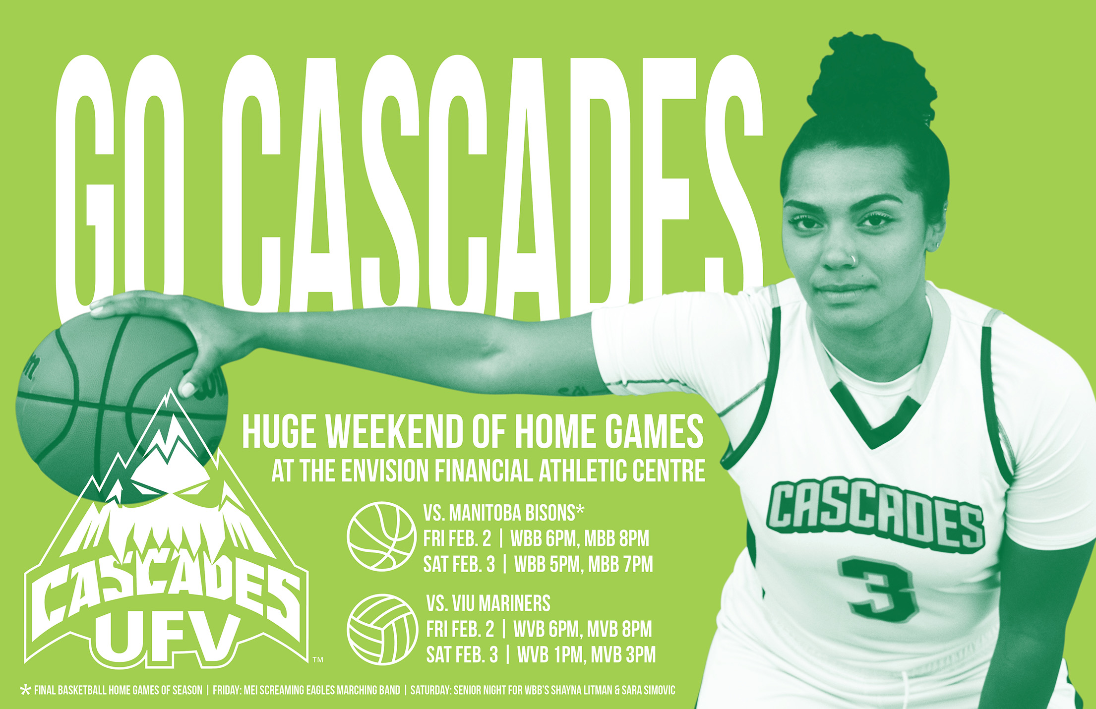 WEEKEND PREVIEW: Cascades basketball, volleyball teams in